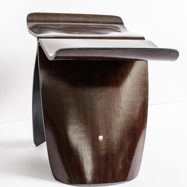 Sori Yanagi Mid Century Yanagi Butterfly Bent Plywood Rosewood Stool For Sale - Image 4 of 10