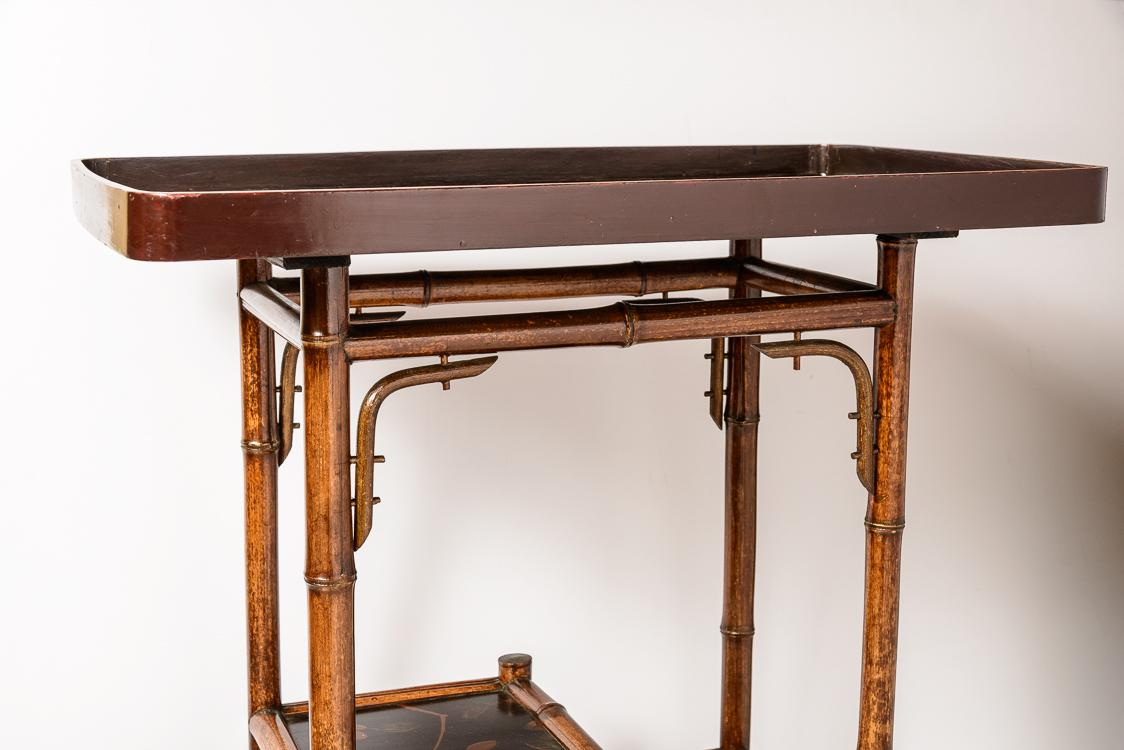 English Bamboo And Lacquer Tray Table