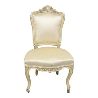 19th Century Louis XV Style Carved Cream Side Chair For Sale