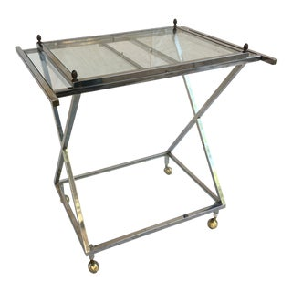 1970s Chrome and Glass Bar Cart For Sale