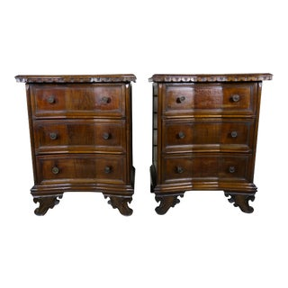 Pair of Italian Baroque Walnut Chests For Sale