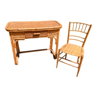 Bamboo and Rattan Deco Inspired Desk With Chair - 2 Pieces For Sale