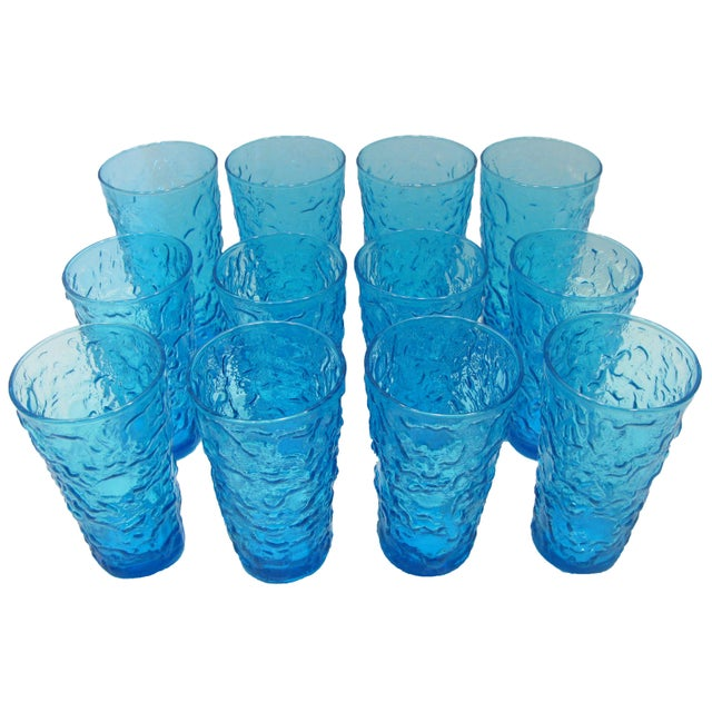 Mid-Century Modern Mid-Century Blue Art Glass Barware, Set of 12 For Sale - Image 3 of 4