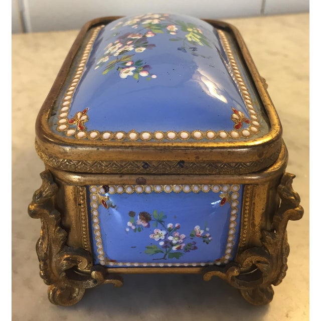 1885 Bronze Gilt and Hand Painted Enameled Cofferette For Sale - Image 4 of 12