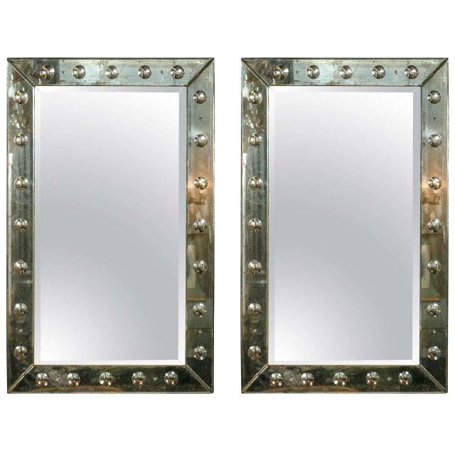 Bullseye Antiqued Framed Venetian Mirrors - Pair - Image 1 of 6