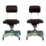 Image of Vintage Mid Century Aged Industrial Office Swivel Chairs- A Pair For Sale