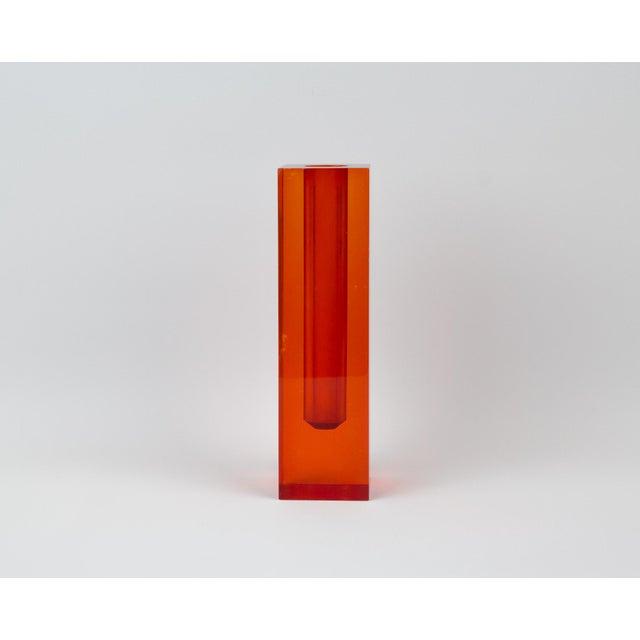 Red Orange Rectangular Lucite Bud Vase For Sale - Image 4 of 12