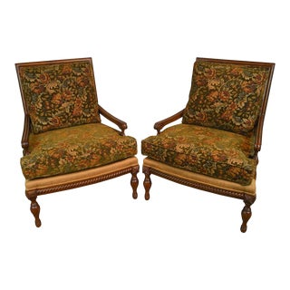Wesley Hall French Louis XVI Style Wide Seat Pair of Bergere Lounge Chairs For Sale