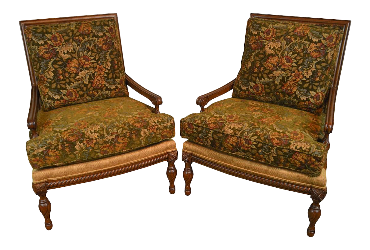 Wesley Hall French Louis XVI Style Wide Seat Pair Of Bergere Lounge Chairs