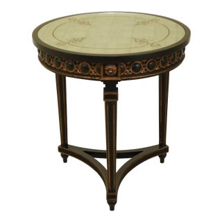 Regency Style Round Black Occasional Table With Eglomise Glass Top For Sale