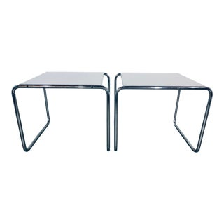 """1960s Contemporary Marcel Breuer """"Laccio"""" Chrome and Laminate Side Tables - a Pair For Sale"""