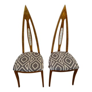 1960's Cathedral Arch-Backed Side Chairs, Gold-Leafed/ Shell Inlaid, a Pair For Sale