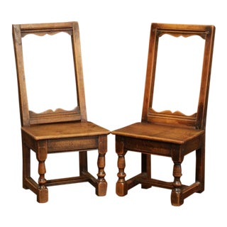 19th Century French Louis XIII Carved Walnut Dolls Armchairs-a Pair For Sale