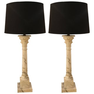 1950s Neoclassical Marble Column Lamps - a Pair