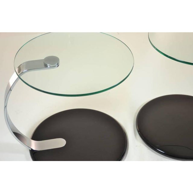 Pair of Modernist Chrome and Glass Tables - Image 7 of 10
