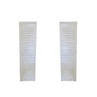 Cottage Chic Wood Shutter Pedestals Fern Stands - a Pair For Sale
