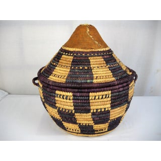 African Woven Basket With Cover Preview