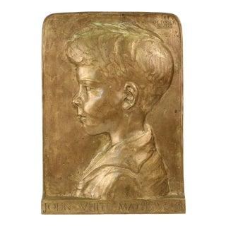 Beatrice Fenton Profile Portrait Relief Bronze Plaque of John White Mathews Jr For Sale