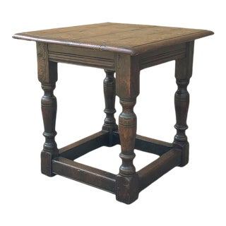 19th Century Rustic English Oak Side Table For Sale