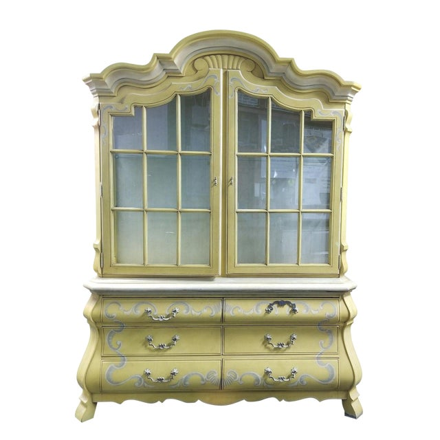 1960s Drexel French Country Yellow China Cabinet