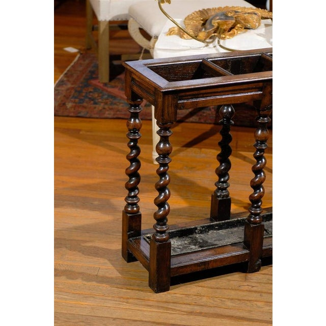 English Oak Umbrella Stand with Barley Twist Legs - Image 4 of 5