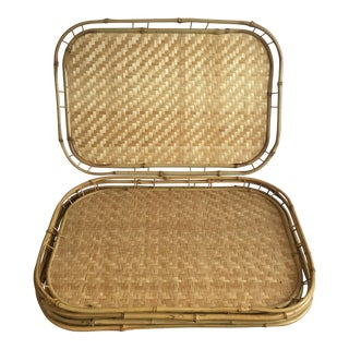 Bamboo Rattan Trays - Set of 5
