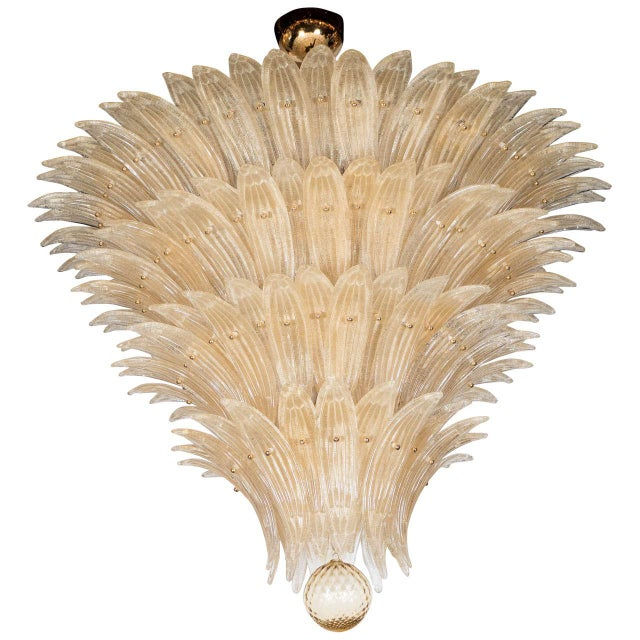 Exquisite Five-Tier Handblown Champagne Murano Glass Palma Chandelier For Sale - Image 9 of 9