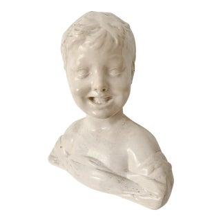"1970s Vintage ""Laughing Boy"" Ceramic Head Bust Sculpture For Sale"