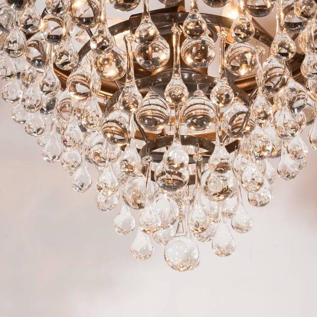Hollywood Regency Crystal Teardrop and Ball Chandelier with Bronze Fittings For Sale In New York - Image 6 of 10