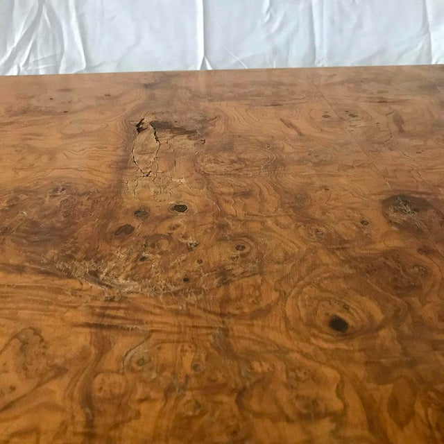 1970s Mid-Century Modern Burl Wood Square Coffee Table For Sale - Image 12 of 13
