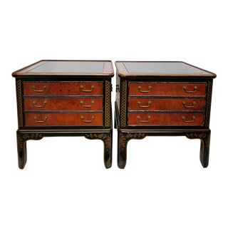 Drexel Et Cetera Chinoiserie Black Lacquer Burlwood Side Tables - a Pair For Sale