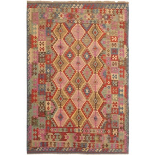 Margaret Blue/Brown Hand-Woven Kilim Wool Rug -6'9 X 9'9 For Sale