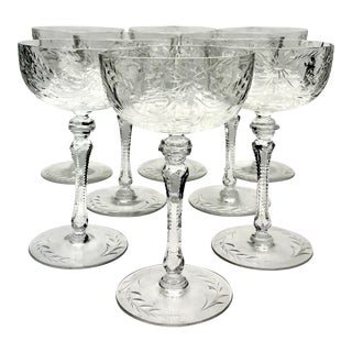 Victorian Floral Intaglio Cut Tall Champagne Coupes - Set of 8 For Sale