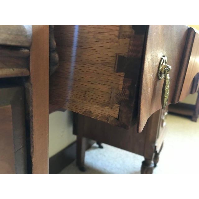Chestnut Antique Mirrored Dressing Table With Burled and Zebra Woods For Sale - Image 8 of 9