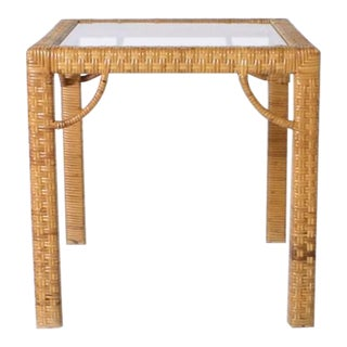 Rattan Wrapped Side Table in the Style of Billy Baldwin, C. 1970