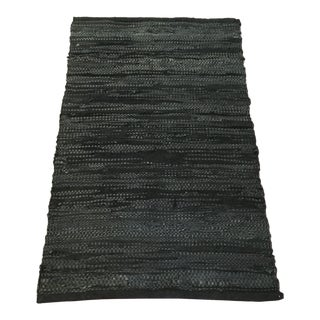 Handwoven Recycled Onyx Leather Rug - 2′4″ × 4′ For Sale