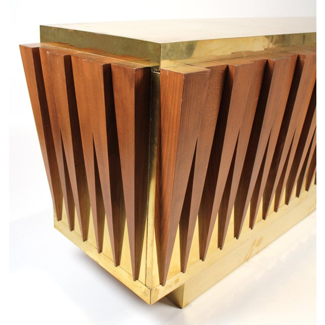 Gold 1970s Custom Paolo Buffa Attributed Credenza for Hotel in Italy For Sale - Image 8 of 10