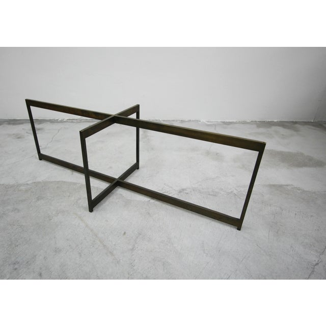 Bronze Mid Century Minimalist Italian Bronze Base Coffee Table For Sale - Image 7 of 10