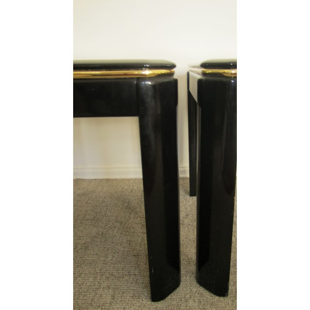 Vintage Modern Black Lacquer & Brass Tables - Pair - Image 6 of 10
