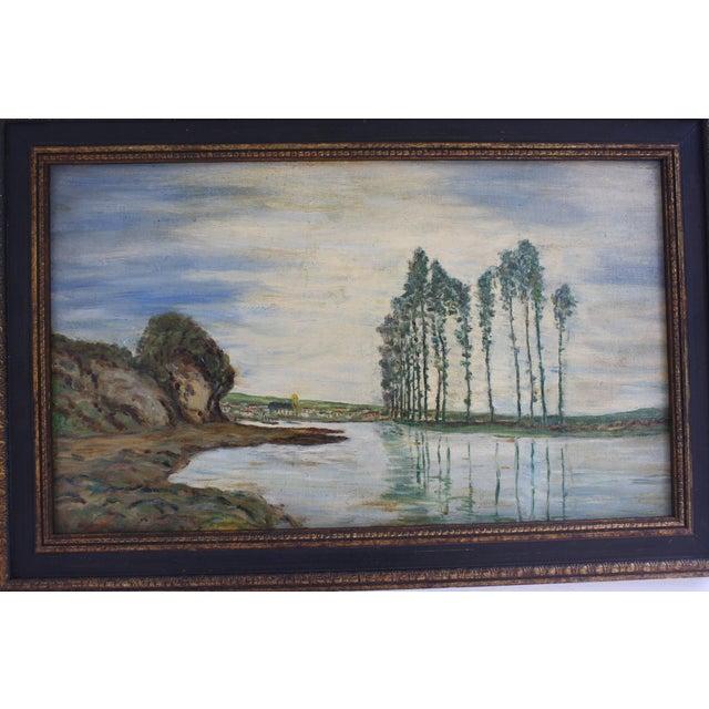 1930s Vintage Framed Fauvist Oil on Board Landscape Painting For Sale - Image 4 of 6