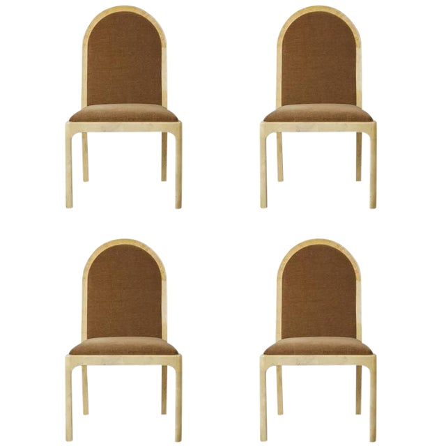 1970s Vintage Enrique Garcel Mohair & Lacquered Goatskin Wrapped Chairs - Set of 4 For Sale