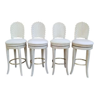 1980s Mid-Century Modern Grotto Style Shellback Barstools - Set of 4