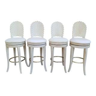Mid-Century Modern Grotto Style Shellback Barstools - Set of 2