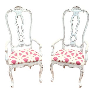 Italian Shabby Chic Hand Carved Arm Chairs- a Pair For Sale