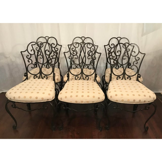 French Mid Century French Wrought Iron Chairs After Jean- Charles Moreux Set of 6 For Sale - Image 3 of 8