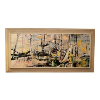Mid-Century Acrylic Abstract Harbor Scene Jeanette T Kann For Sale