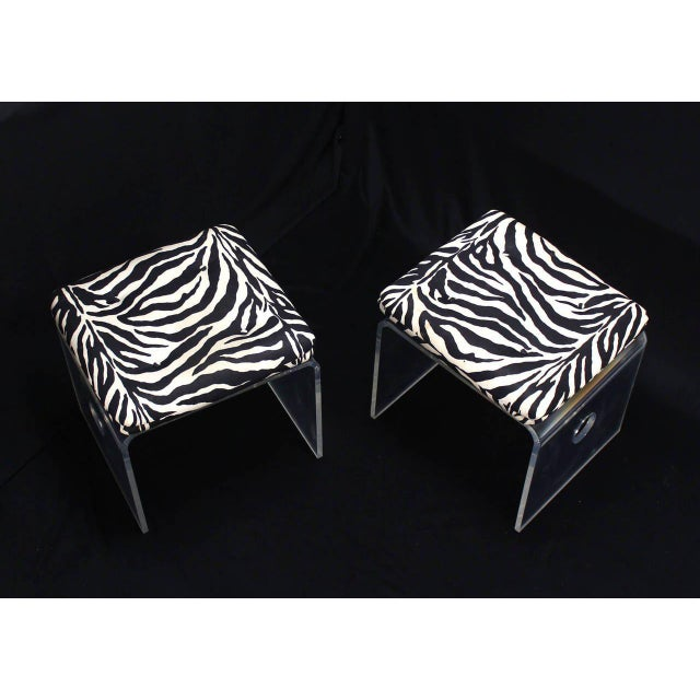 Pair of Mid-Century Modern bent Lucite upholstered seats benches.