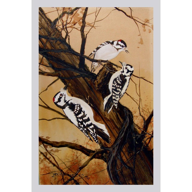 Downey Woodpeckers gouache and watercolor on artist board by Jerry Weers (20th century, Texas), 1976. Signed lower left....