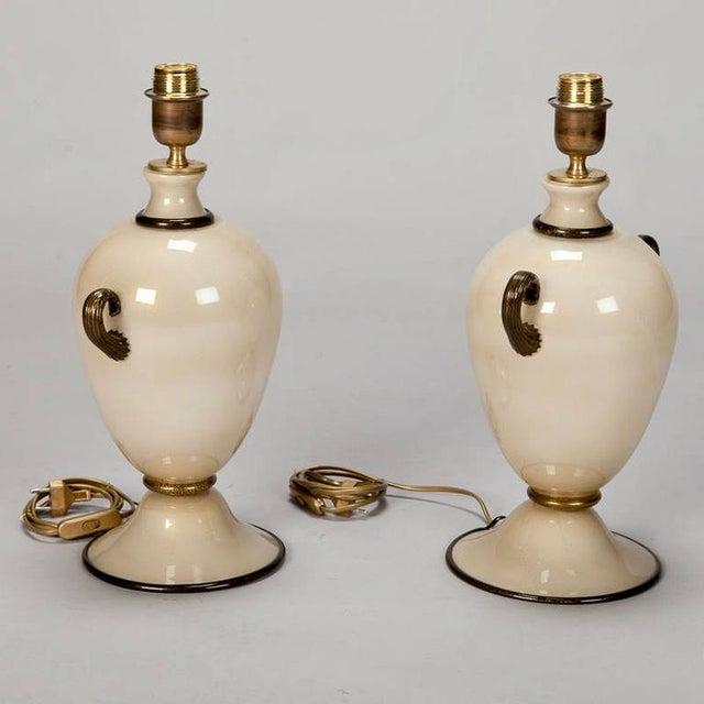 Pair of Mid Century Murano Amphora Art Glass Aventurine Table Lamps - Image 6 of 8