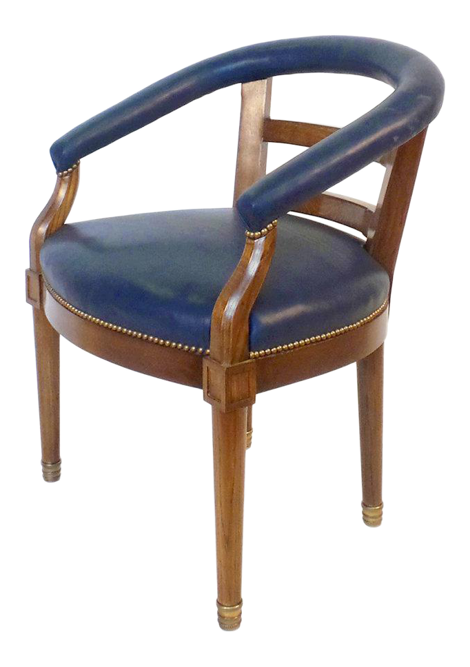 Antique Designer Navy Blue Side Chairs Decaso